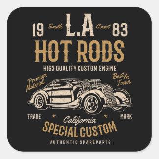 LA Hot Rods California Custom Engine Square Sticker