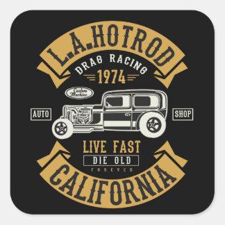 LA Hotrod California Drag Racing 1974 Square Sticker
