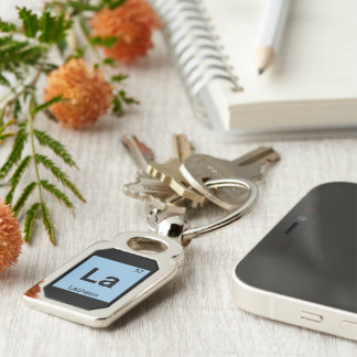 La - Lachesis Fates Chemistry Periodic Table Silver-Colored Rectangle Key Ring