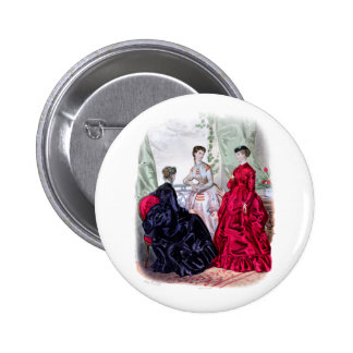 La Mode Illustree Aubergine and Ruby Gowns 6 Cm Round Badge