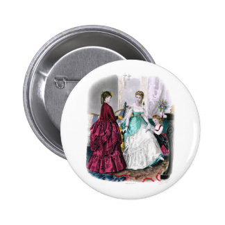 La Mode Illustree Burgundy and Seafoam Gowns 6 Cm Round Badge