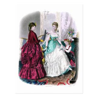 La Mode Illustree Burgundy and Seafoam Gowns Postcard