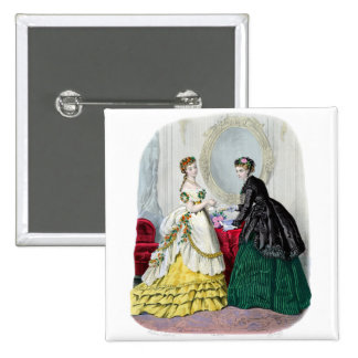 La Mode Illustree Green and Yellow Gowns 15 Cm Square Badge