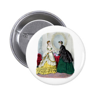 La Mode Illustree Green and Yellow Gowns 6 Cm Round Badge