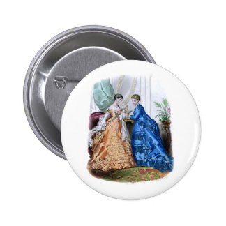La Mode Illustree Peach and Blue Gowns 6 Cm Round Badge