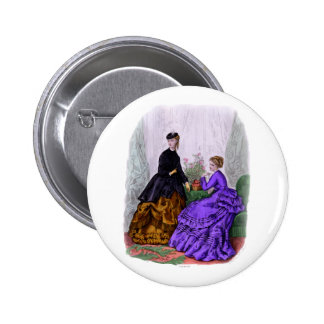 La Mode Illustree Purple and Rust Gowns 6 Cm Round Badge