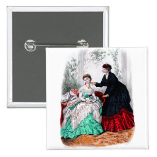 La Mode Illustree Seafoam and Ruby Gowns 15 Cm Square Badge