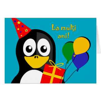La multi ani! Happy Birthday in Romanian, Penguin Card