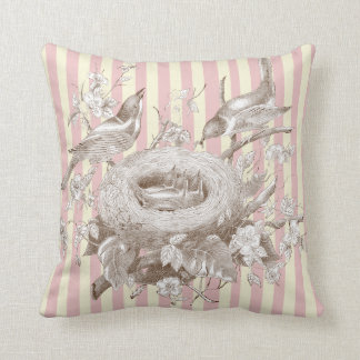 La Petite Famille on pink and cream stripes Throw Pillow