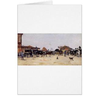 La Place de la Gare a Deauville by Eugene Boudin Greeting Card