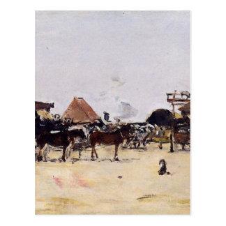La Place de la Gare a Deauville by Eugene Boudin Postcard