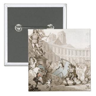 La Place des Victoires, Paris, c.1789 (pen and ink 15 Cm Square Badge