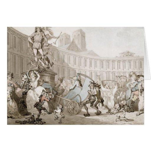 La Place des Victoires, Paris, c.1789 (pen and ink Greeting Card