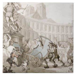 La Place des Victoires, Paris, c.1789 (pen and ink Large Square Tile