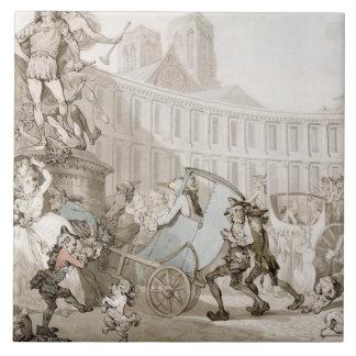 La Place des Victoires, Paris, c.1789 (pen and ink Large Square Tile