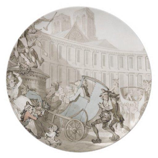 La Place des Victoires, Paris, c.1789 (pen and ink Party Plates