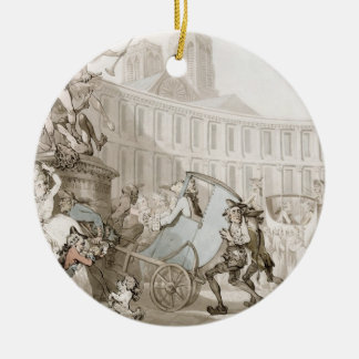 La Place des Victoires, Paris, c.1789 (pen and ink Round Ceramic Decoration