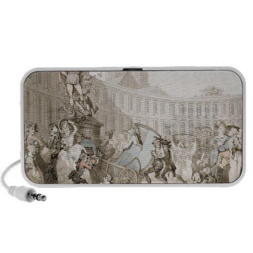 La Place des Victoires, Paris, c.1789 (pen and ink Portable Speakers
