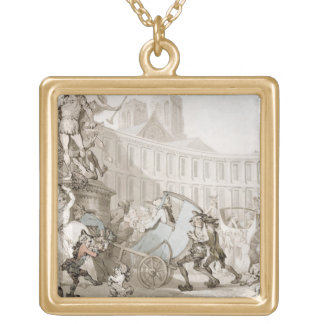 La Place des Victoires, Paris, c.1789 (pen and ink Square Pendant Necklace