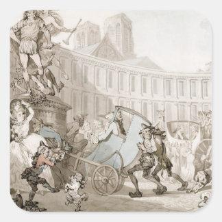La Place des Victoires, Paris, c.1789 (pen and ink Square Sticker