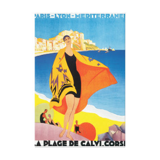 La Plage de Calvi Corse Vintage Travel Poster Gallery Wrapped Canvas