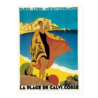 La Plage de Calvi, France vintage travel poster Postcard