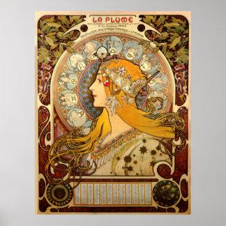 La Plume Vintage French Nouveau France Poster