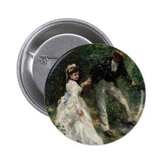 La Promenade Renoir Painting Fine Art Button
