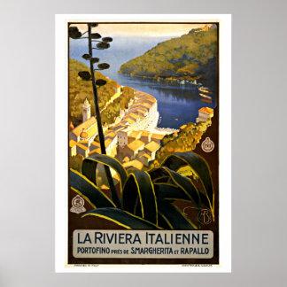 La Riviera Italienne Italy Vintage Travel Poster