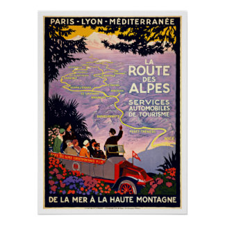 La Route Des Alpes France Vintage Travel Poster