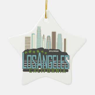LA Skyline Vintage Ceramic Ornament