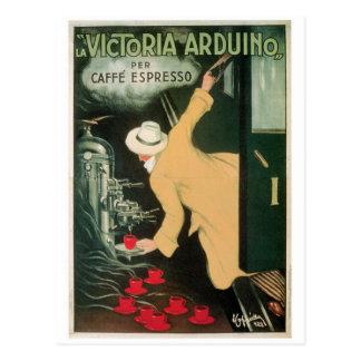 La Victoria Arduino Vintage Coffee Drink Ad Art Postcard