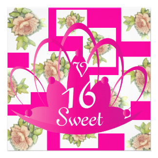 """La Vie En Rose"" Sweet Sixteen Invit.-Customize Custom Invitations"