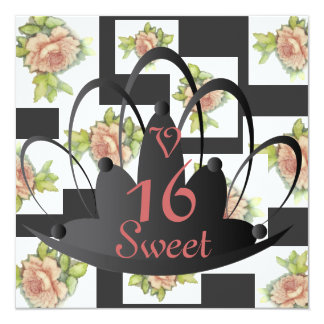 """La Vie En Rose"" Sweet Sixteen Invit.-Customize 5.25"" Square Invitation Card"