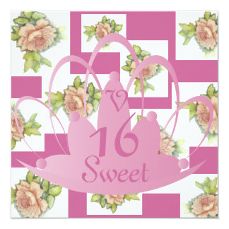 """La Vie En Rose"" Sweet Sixteen Invit.-Customize Custom Invites"