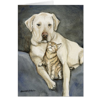 """Lab & Cat"" Dog Art Notecard"