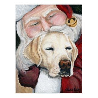 """Lab Gets Santa Hugs"" Art Christmas Postcard"