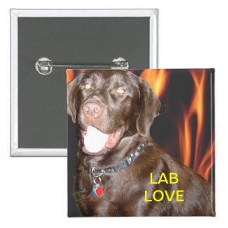 LAB LOVE W/FLAMES 15 CM SQUARE BADGE