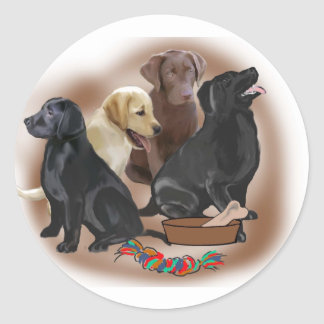 Lab puppies with toys classic round sticker