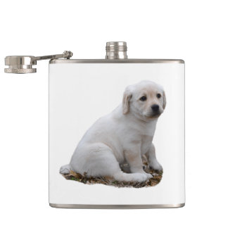 Lab Puppy Sitting Hip Flask