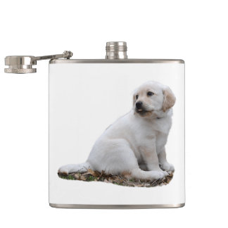 Lab Puppy With Head Turned Hip Flask