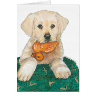 Lab Puppy with Rubber Ducky Card