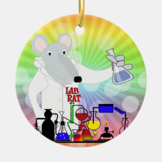 LAB RAT CHEMISTRY ROUND CERAMIC DECORATION