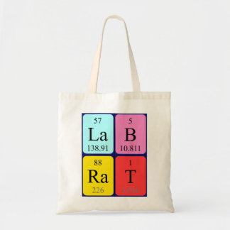 Lab Rat periodic table name tote bag
