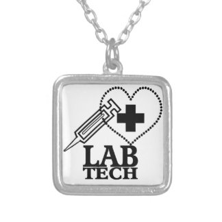 LAB TECH HEART. SYRINGE LOGO MEDICAL LABORATORY SC SILVER PLATED NECKLACE