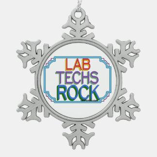 Lab Techs Rock Snowflake Pewter Christmas Ornament