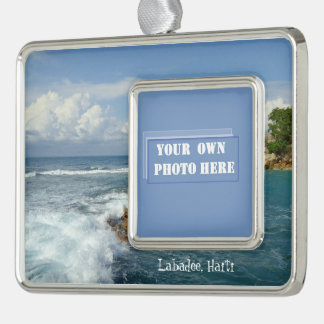 Labadee Seascape Custom Photo Silver Plated Framed Ornament