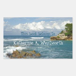 Labadie Seascape Personalized Bookplate Rectangular Sticker