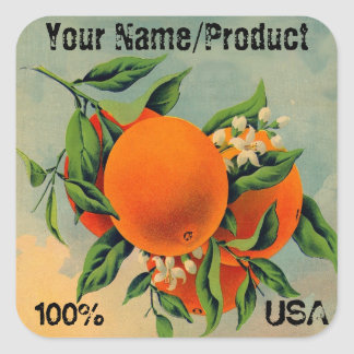 Label 2 Oranges Square Sticker