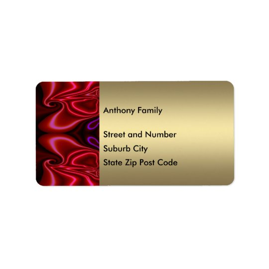 Label Abstract Faux Silk Red Purple on Gold Address Label